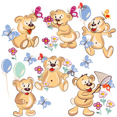 Collection of vector hand drawn cartoon bears for childish desig