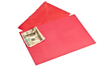 Crumpled Hundred Dollar Bill Inside Blank Red Greeting Card