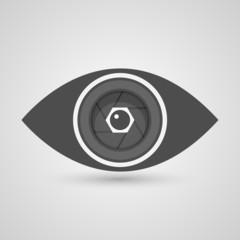 Camera lens inside the eye. Vector illustration.