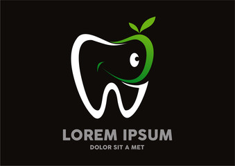 dental green leaf tooth logo vector