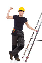 Happy worker posing with a ladder