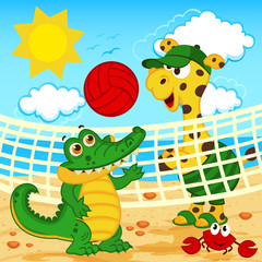 giraffe crocodile playing in beach volleyball - vector, eps