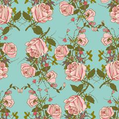 Vintage floral seamless color pattern
