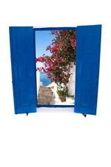 Open traditional Greek blue window on Mykons island, Greece