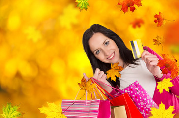 Young beautiful woman, autumn shopping.
