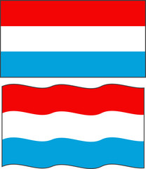 Flat and waving Luxembourg Flag. Vector