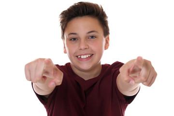 Ich will dich Teenager Junge zeigt mit dem Finger