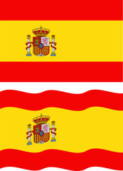 Flat and waving Spanish Flag. Vector