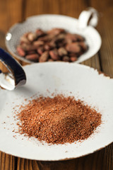 cocoa powder and roasted cocoa chocolate beans
