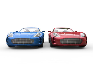 Dark blue and red cars on white background