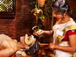 Woman having mask at ayurveda spa.