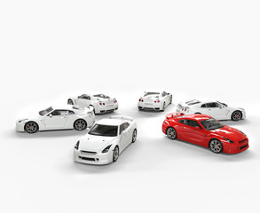 Red car among many white cars