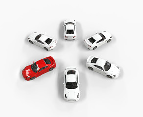 Red car among many white cars - top view