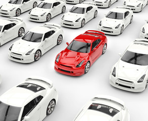 Red car stands out among many white cars