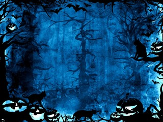 Halloween dark blue magic mystic background