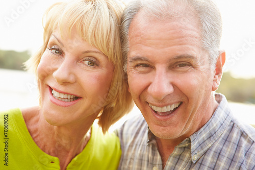 canvas print picture Head And Shoulders Portrait Of Senior Couple Outdoors
