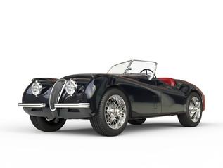 Black vintage car shot on white background