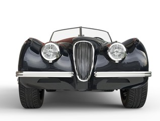 Black vintage car shot on white background - front view