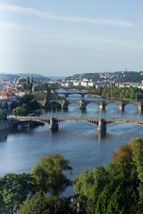 View of the Vltava River and bridges at sunrise, Prague, the Cze