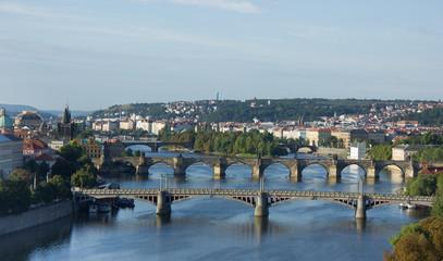View of the Vltava River and the bridges at sunrise, Prague, the