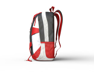 Red backpack on white background - side view