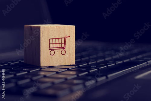 Leinwandbild Motiv Online shopping and e-commerce background