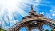 Leinwanddruck Bild - Eiffelturm - Weitwinkel Aufnahme