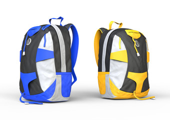 Blue and yellow backpacks on white background