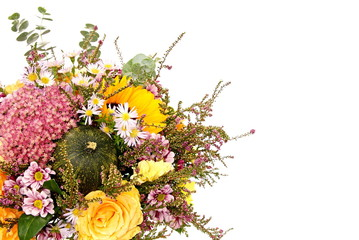 Flowers with autumn decoration, right you can write some text