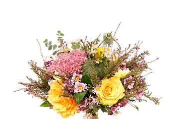 Bouquet of flowers with autumn decoration