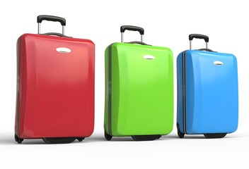 Red, green and blue polycarbonate travel baggage suitcases