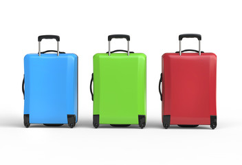 Blue, freen and red plastic baggage suitcases - back view