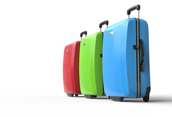 Brightly colored polycarbonate travel suitcases