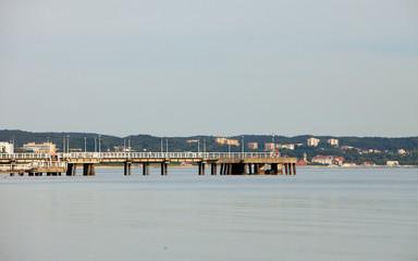 Tourism. Sea pier in Brzezno Gdansk Poland Europe