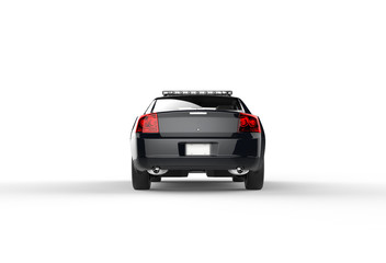 Police car without decals on white background - back view