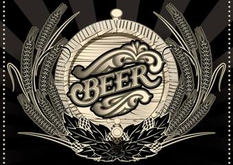 emblem beer barrel and barley for menu