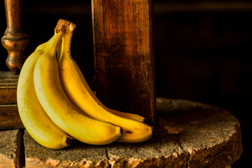 Banana on a rustic stone
