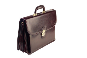 Brown leather briefcase isolated on white background
