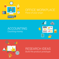 Office workplaces infographics concept flat icons set of process