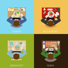 Food meal time top view concept flat icons set dinner restaurant