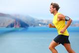 Fototapety Athlete running man - male runner in San Francisco