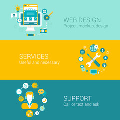 Web design infographics concept flat icons set project interface