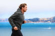 Athlete man running in sweatshirt hoodie - 70872273