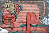 Abstract mural Graffiti detail on the textured wall - 70872206