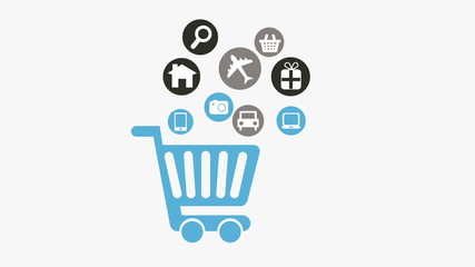 Shopping cart with icons on white background, Animation Design,