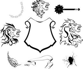 lion head heraldic crest set
