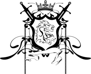 heraldic lion head coat of arms tattoo3