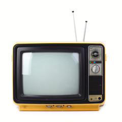 Vintage style old television isolated on white background.
