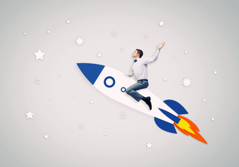 Man on rocket