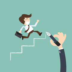 career planning -Businessman climbs the ladder of success